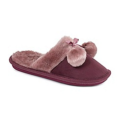 Isotoner - Ladies Dark Red Faux Fur Pom Pom Slipper