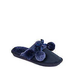 Isotoner - Ladies Navy Faux Fur Pom Pom Slipper