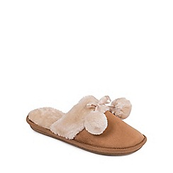 Isotoner - Ladies Tan Faux Fur Pom Pom Slipper