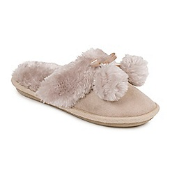 Isotoner - Ladies Taupe Faux Fur Pom Pom Slipper