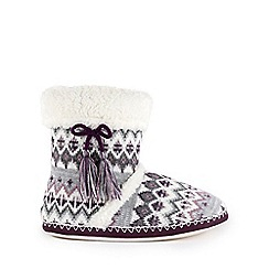 Isotoner - Ladies Fair Isle Bootie Slippers