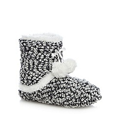 Isotoner - Ladies Grey Bobble Knit Bootie Slippers