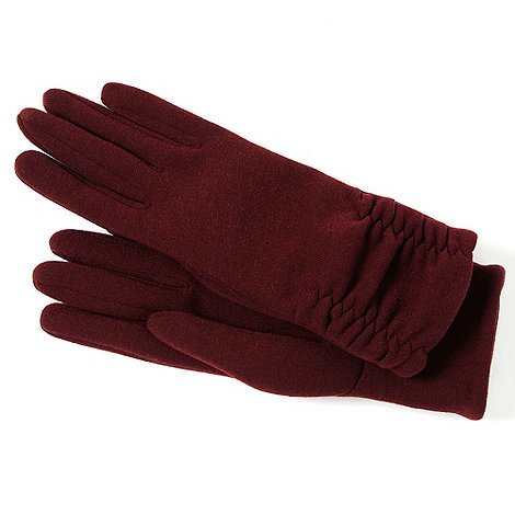 Isotoner - Dark red ruched cuff gloves