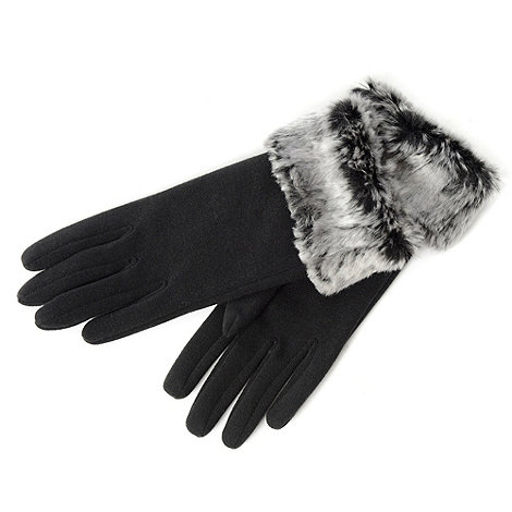 Isotoner - Black faux fur tipped thermal gloves