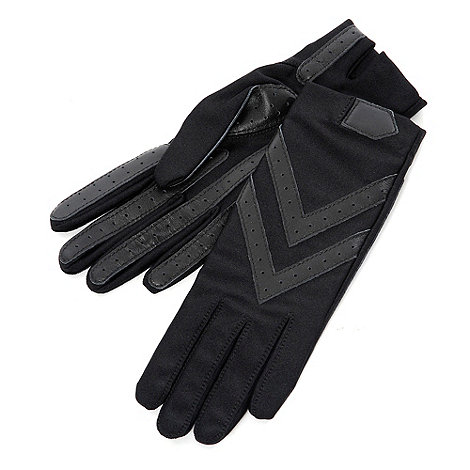 Isotoner - Black leather grip gloves