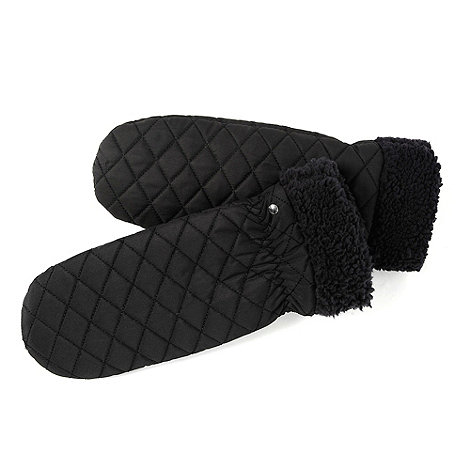 Isotoner - Black quilted shirpa cuff mittens