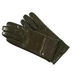 Isotoner - Brown pleated gloves with cashmere lining