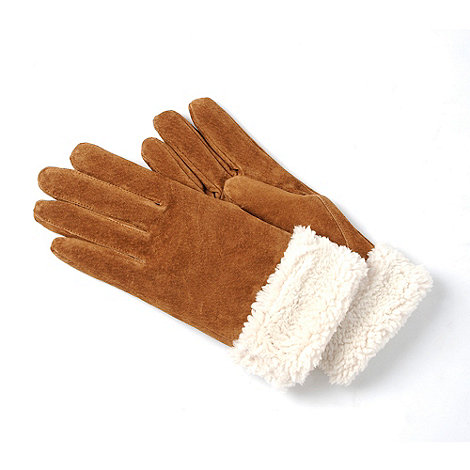 Isotoner - Tan shirpa trim suede gloves