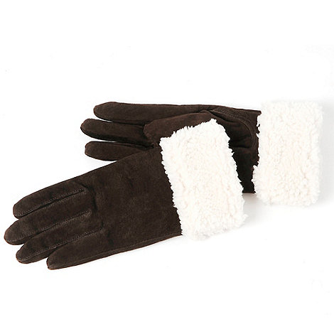 Isotoner - Chocolate brown shirpa trim suede gloves