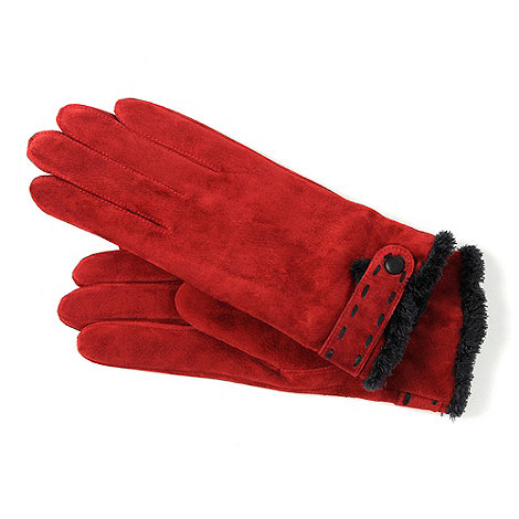 Isotoner - Red suede trim gloves