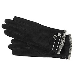 Isotoner - Black suede trim gloves