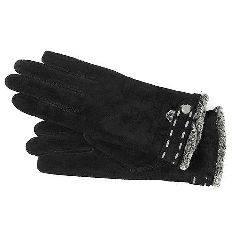 Isotoner - Black suede trim gloves