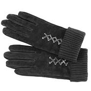Grey mock lace up suede gloves
