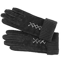 Isotoner - Grey mock lace up suede gloves