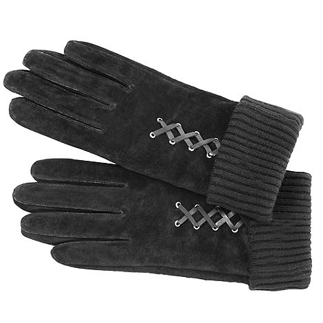 Isotoner - Grey mock lace up suede gloves