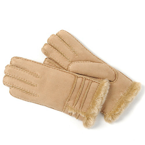 Isotoner - Natural stitch mock fur trim gloves
