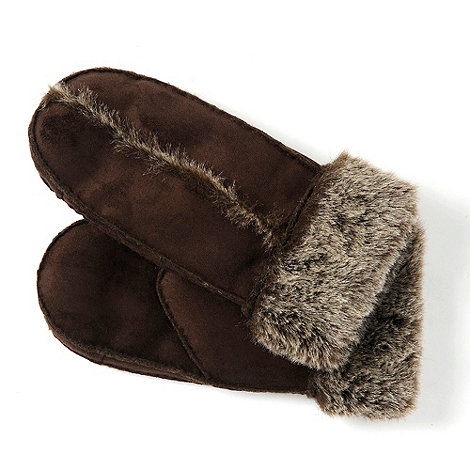 Isotoner - Chocolate brown trim mittens