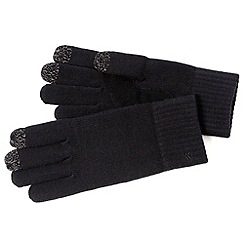 Isotoner - Black knitted touch screen gloves