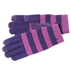 Isotoner - Purple striped knitted touch screen gloves