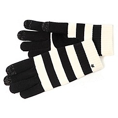 Isotoner - Smartouch white striped knit gloves