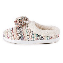 Isotoner - Ladies Bright Knit Mule Slippers