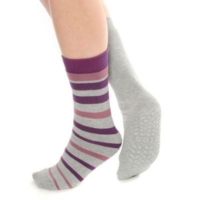 Pack of two grey plain and striped slipper socks