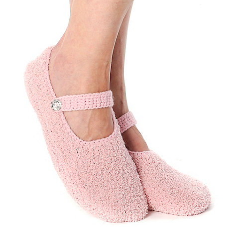Totes - Pink strap and buckle footsie slippers