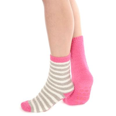Pack of two pink supersoft slipper socks