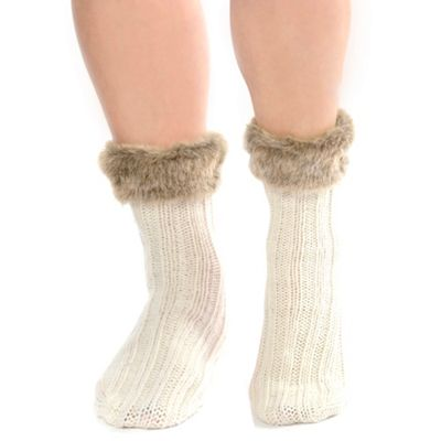 Cream faux fur cuff ankle socks