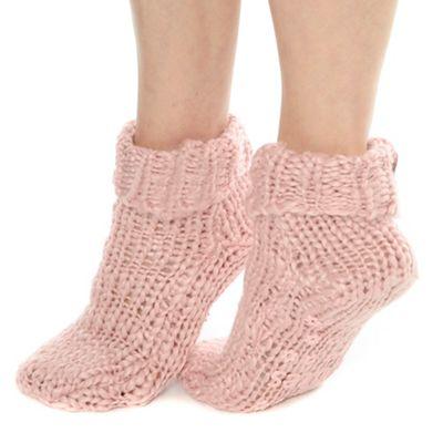 Pink chunky knit socks