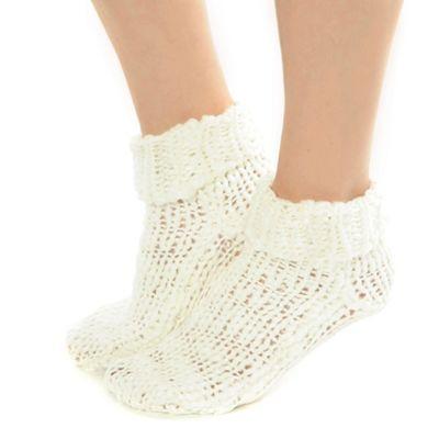 Cream chunky knit socks
