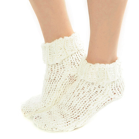 Totes - Cream chunky knit socks