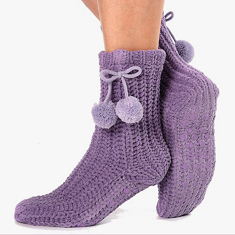 Totes - Purple chunky knit pom pom socks