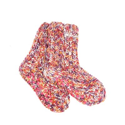 Pink space dye knitted socks