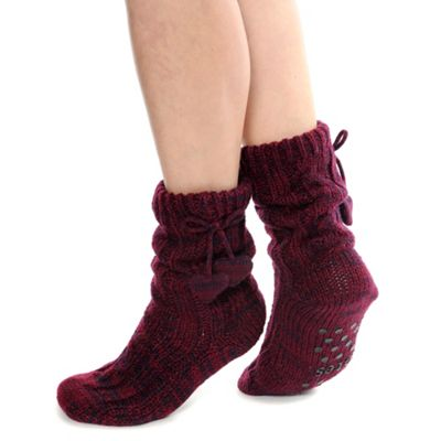 Dark red cable knitted fleece lined sock