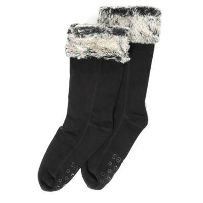 Black fur trim slipper socks