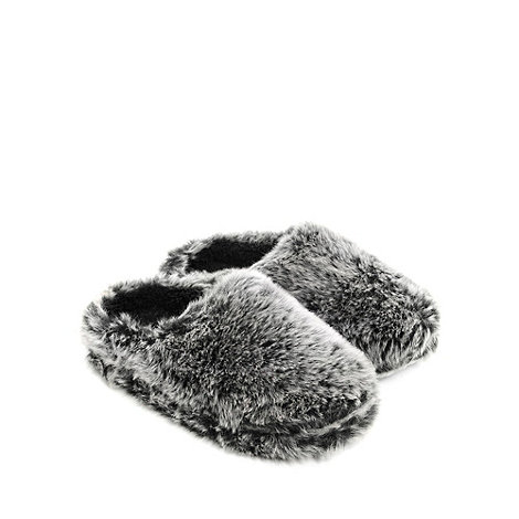 Totes - Grey tipped faux fur mule slippers