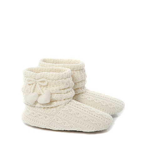 Totes - Ivory cable knitted slouch +bootie+ slippers