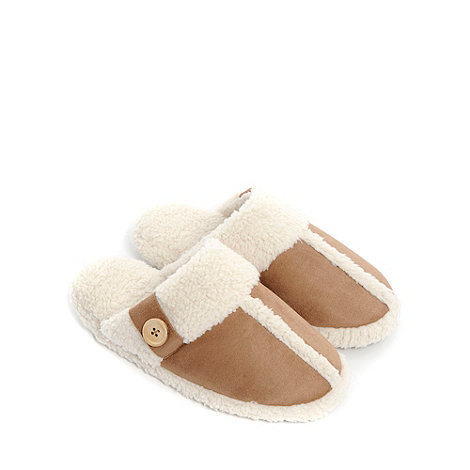Totes - Tan buttoned trimmed mule slippers