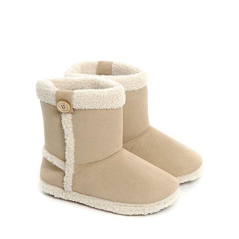 Totes - Beige suede-look +bootie+ slippers