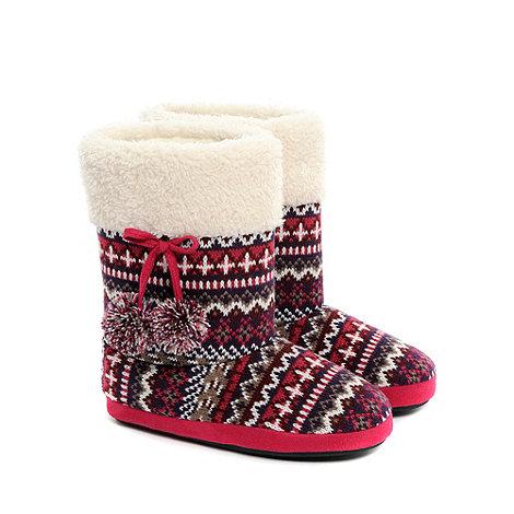 Totes - Purple fairisle knitted boots