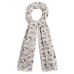 Red Herring - White village print scarf