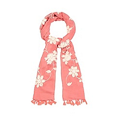 Mantaray - Red floral embroidered scarf