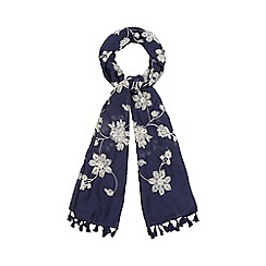 Mantaray - Navy floral embroidered scarf