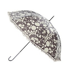 Totes - Dark grey floral crook umbrella