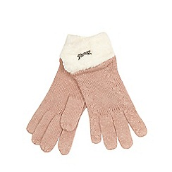 Mantaray - Pink knitted borg gloves with lambswool