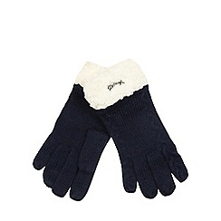 Mantaray - Navy borg knitted gloves with lambswool
