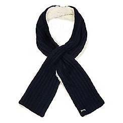 Mantaray - Navy knitted wool scarf with lambswool