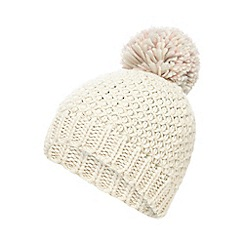 Mantaray - Natural pom cable knit beanie hat