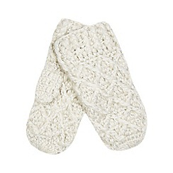 Mantaray - Off white knitted mittens